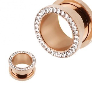 Rose Gold PVD Jewelled tunnel