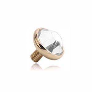 14ct Solid Gold Bezel Set Round Crystal Dermal Top