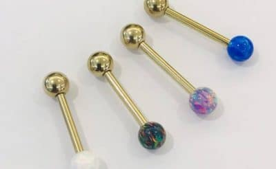Zircon Gold Barbell with Sim Opal Top