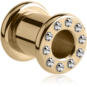 PVD Zircon Gold Jewelled Round-Edge Tunnel