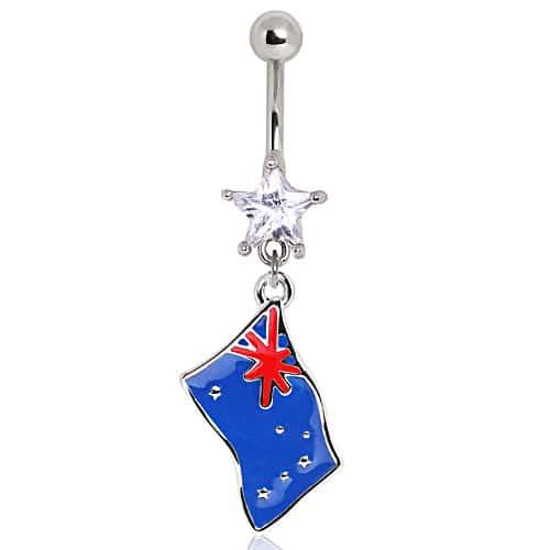 Surgical Steel Australian Flag Navel Bar