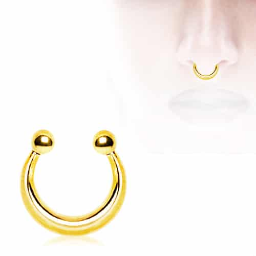 Zircon Gold Plated Fake Septum Ring