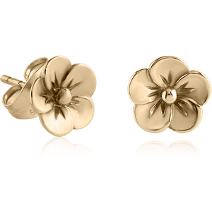 Zircon Gold Flower Ear Studs