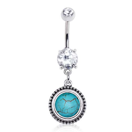 Surgical Steel Turquoise Dangle Navel Bar