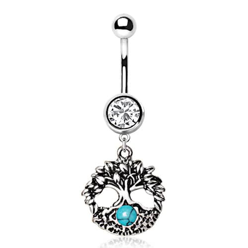 Turquoise Tree of Life Navel Bar