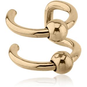 Zircon Gold Illusion 2 Ring Ear Cuff with Balls