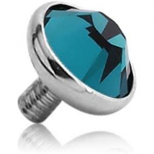 Bezel set crystal dermal anchor