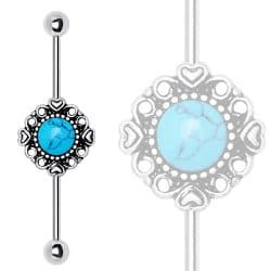 Industrial Barbell with Turquoise Charm