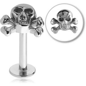 Surgical Steel Micro Labret with Jolly Roger