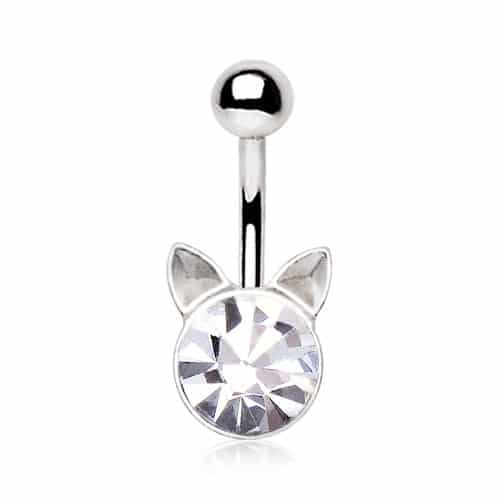 Surgical Steel Jewelled Cat Navel Bar