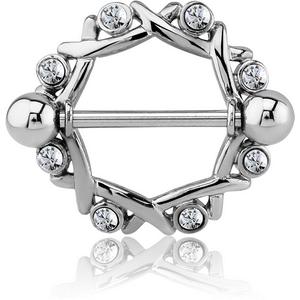 Surgical Steel Jewelled Nipple Shield – Circle
