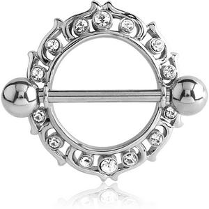 Surgical Steel Jewelled Flame Nipple Shield
