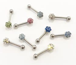 16Ga Surgical Steel Flower Barbell