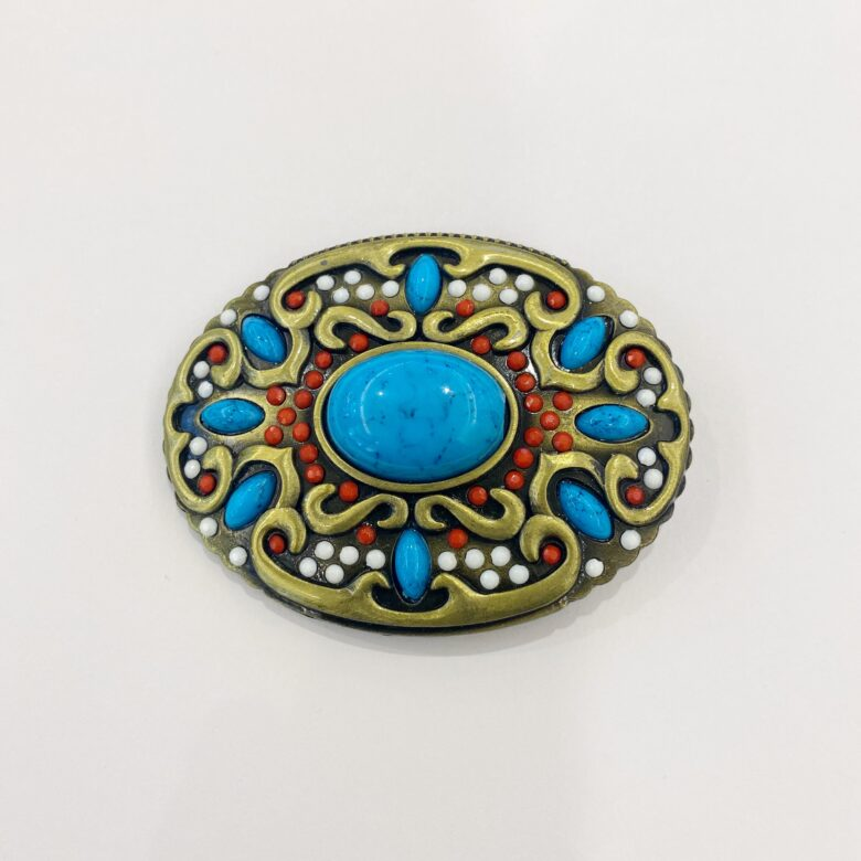 Western style turquoise belt buckle