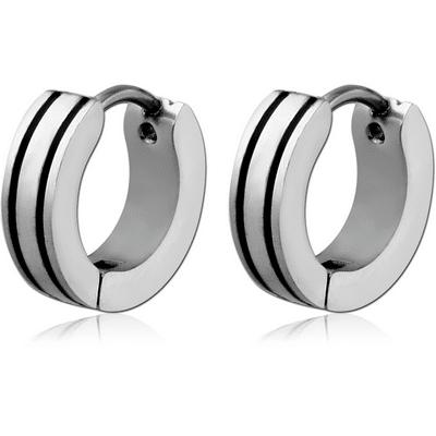 Stainless Steel Ear Huggies – Double Black Line