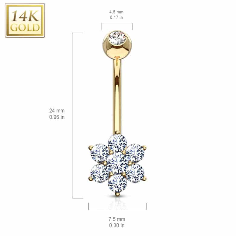 Solid Gold CZ Belly Bar