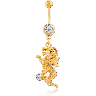 Gold PVD Coated Dragon Navel Bar
