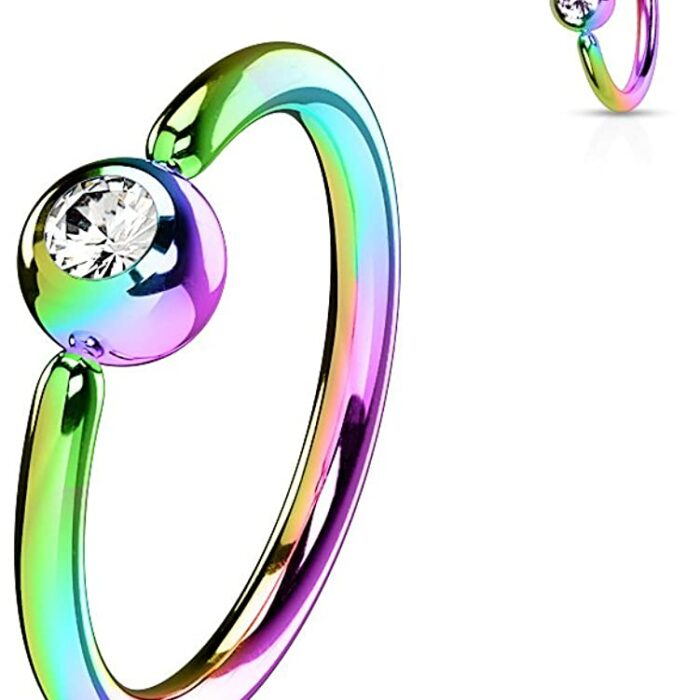 Rainbow Fixed Ball Nose Ring with Crystal