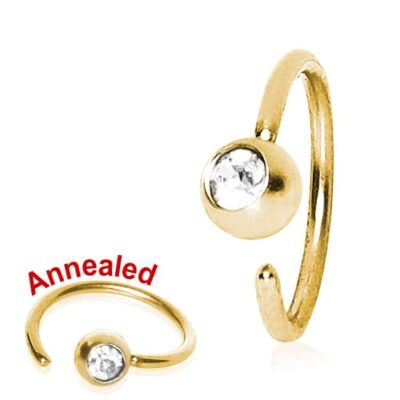 Gold Plated Fixed Ball Nose Ring with Crystal