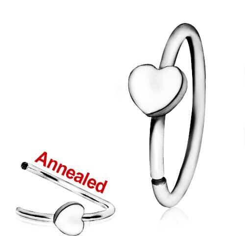 Steel nose ring with heart detail
