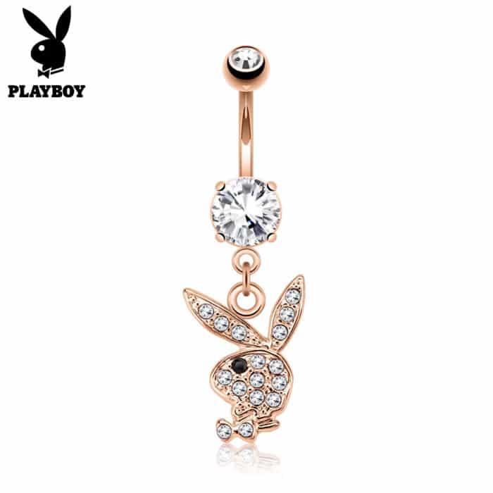 Rose Gold Playboy Bunny Charm Belly Bar