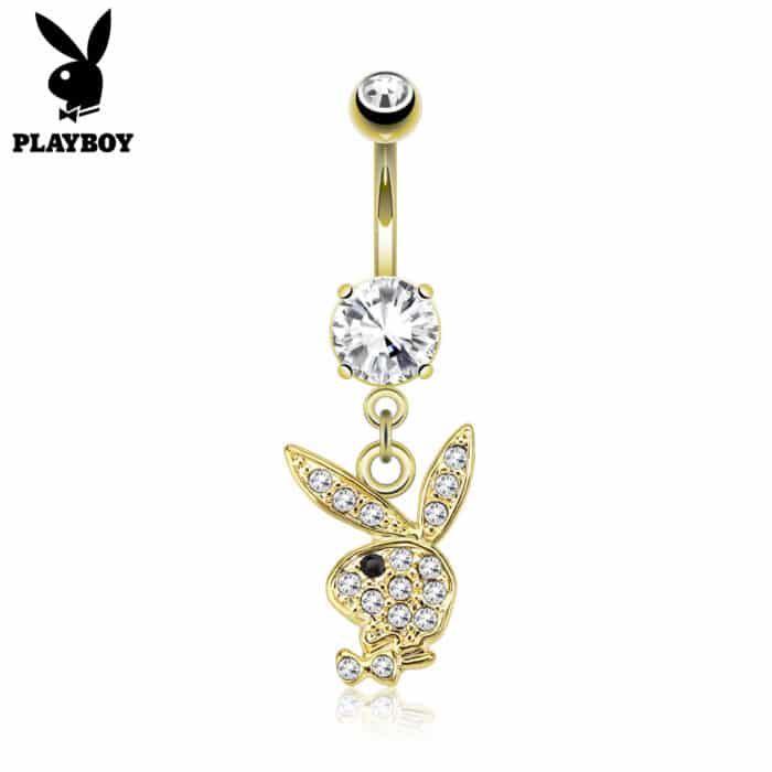 Gold Plated Playboy Bunny Charm Belly Bar