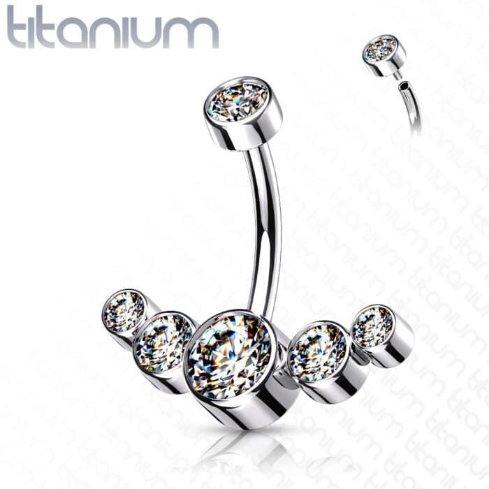 Titanium CZ Bezel Set Cluster Navel Bar