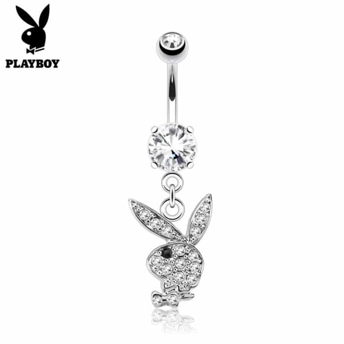 Surgical Steel Playboy Bunny Charm Belly Bar