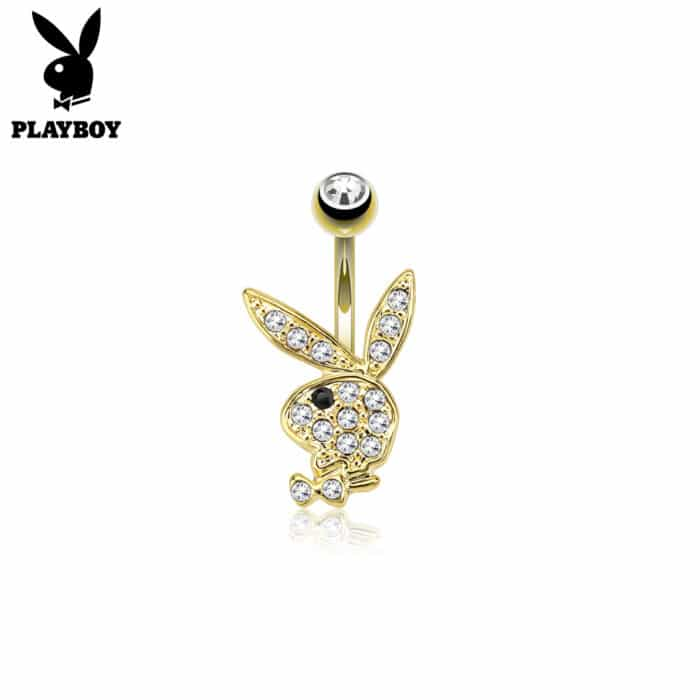 Gold Plated Playboy Bunny Belly Bar