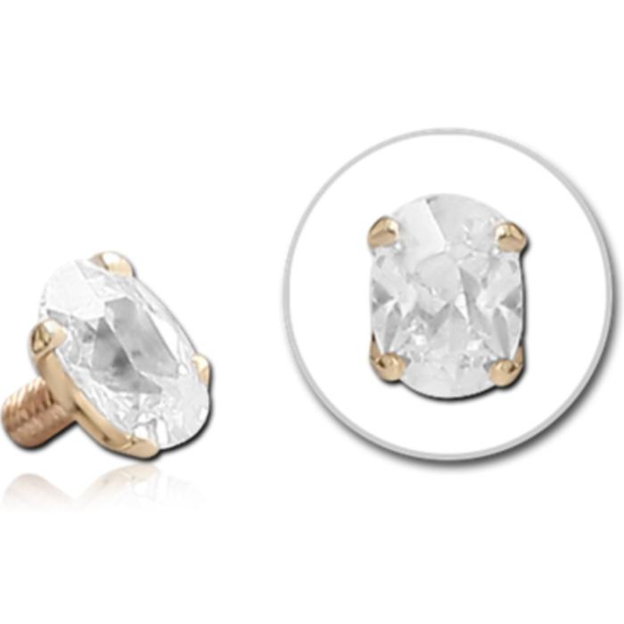 14ct Gold Oval Crystal Dermal Top