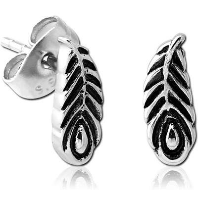 Surgical Steel Feather Studs