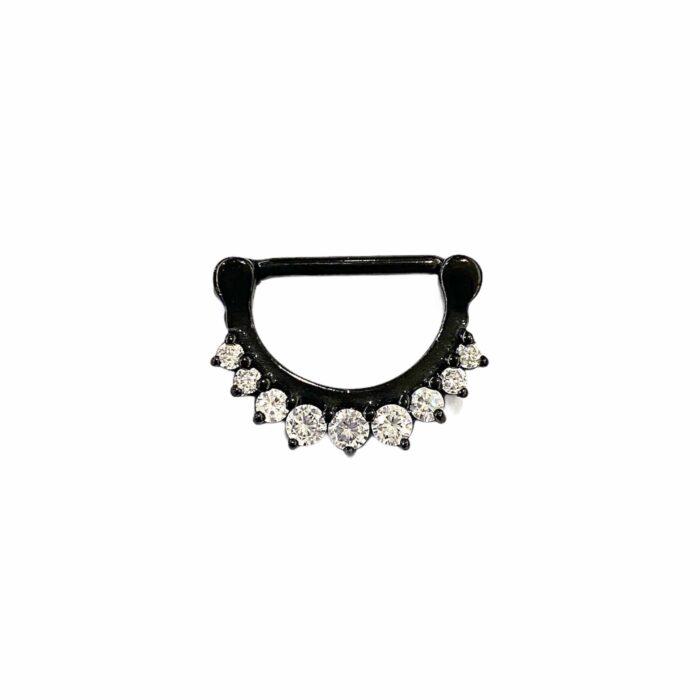 PVD Black Steel Jewelled Nipple Clicker