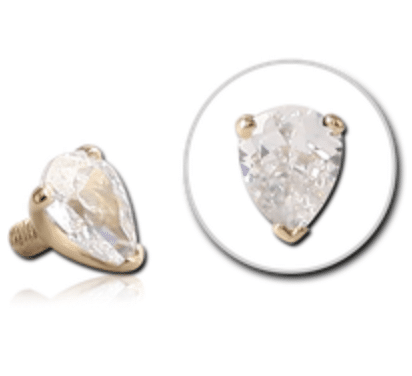 14ct Gold Claw Set Pear Shaped CZ Dermal Top