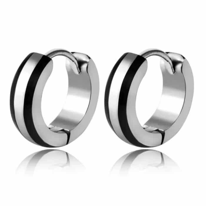 Stainless Steel Ear Huggies with Black Detail